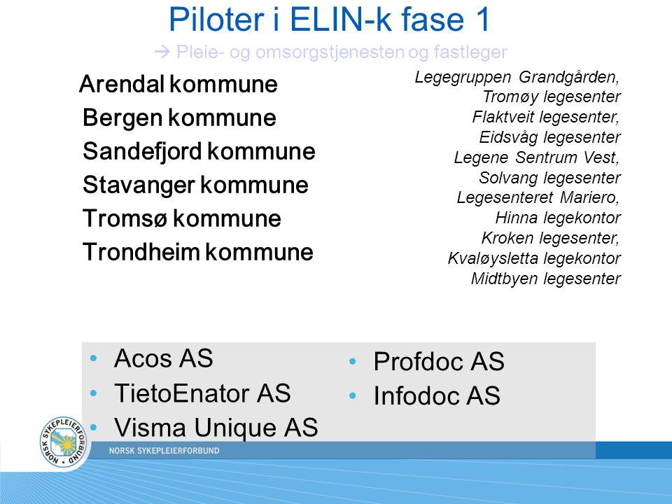 Piloter i ELIN-k fase 1  Pleie- og omsorgstjenesten og fastleger