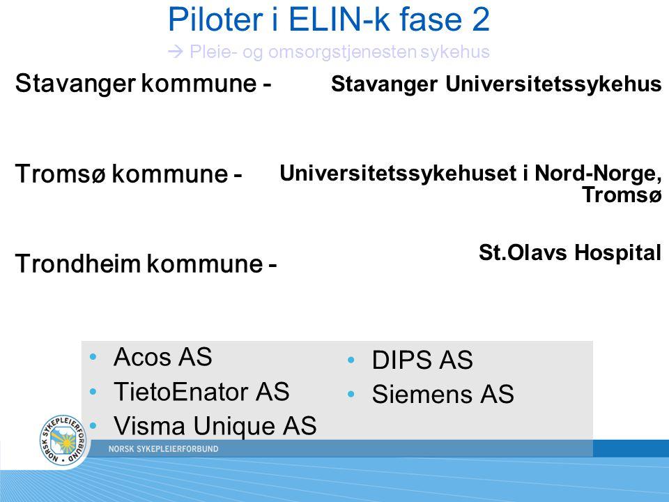 Piloter i ELIN-k fase 2  Pleie- og omsorgstjenesten sykehus
