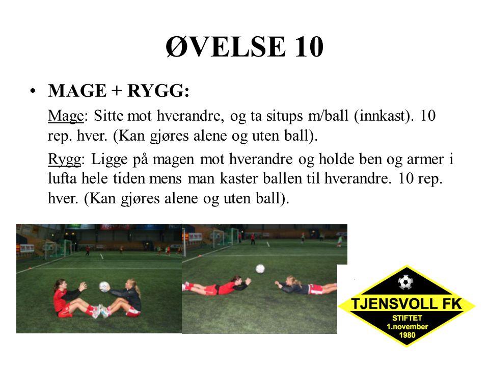 ØVELSE 10 MAGE + RYGG: Mage: Sitte mot hverandre, og ta situps m/ball (innkast). 10 rep. hver. (Kan gjøres alene og uten ball).