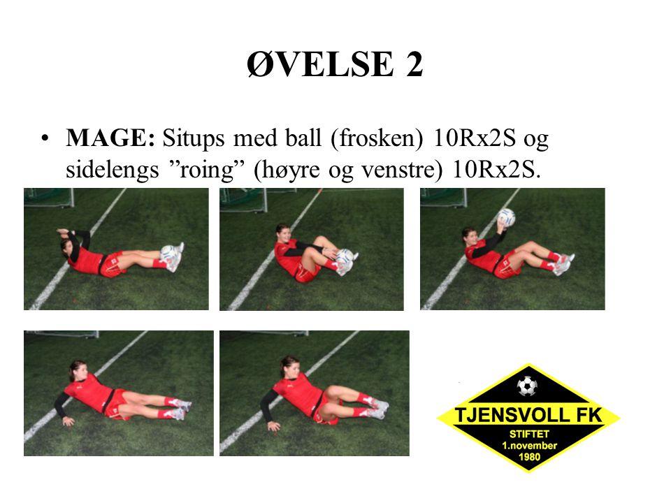 ØVELSE 2 MAGE: Situps med ball (frosken) 10Rx2S og sidelengs roing (høyre og venstre) 10Rx2S.