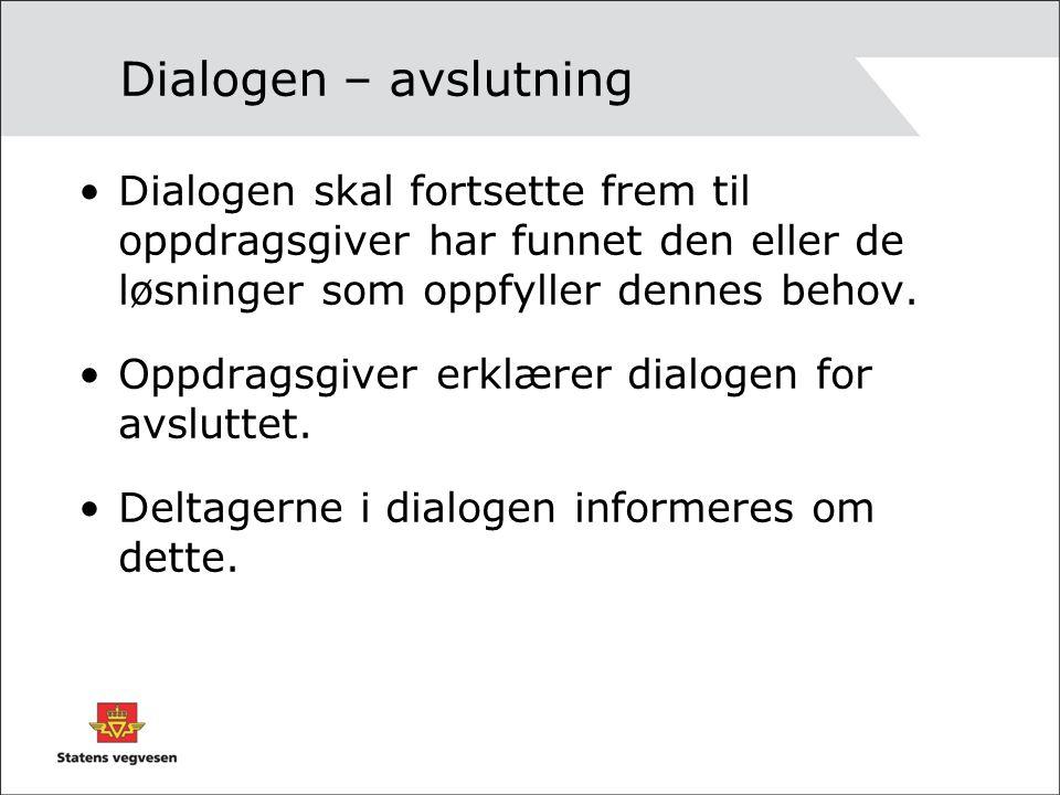 Dialogen – avslutning Dialogen skal fortsette frem til oppdragsgiver har funnet den eller de løsninger som oppfyller dennes behov.