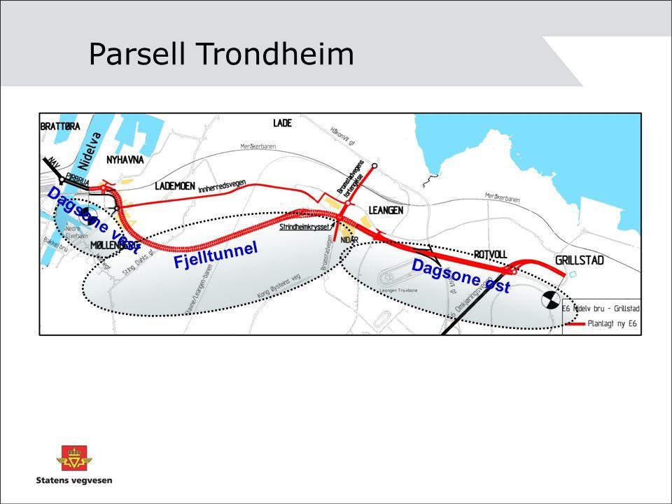 Parsell Trondheim Dagsone vest Fjelltunnel Dagsone øst