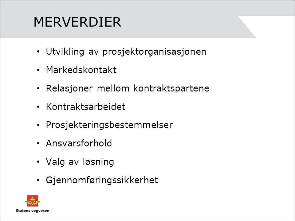MERVERDIER Utvikling av prosjektorganisasjonen Markedskontakt