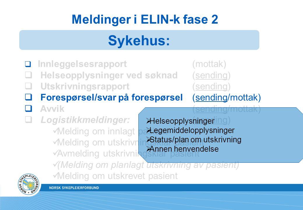 Meldinger i ELIN-k fase 2