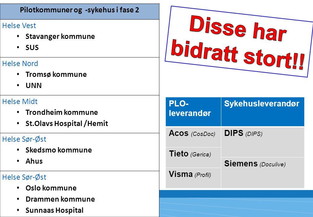 Pilotkommuner og -sykehus i fase 2