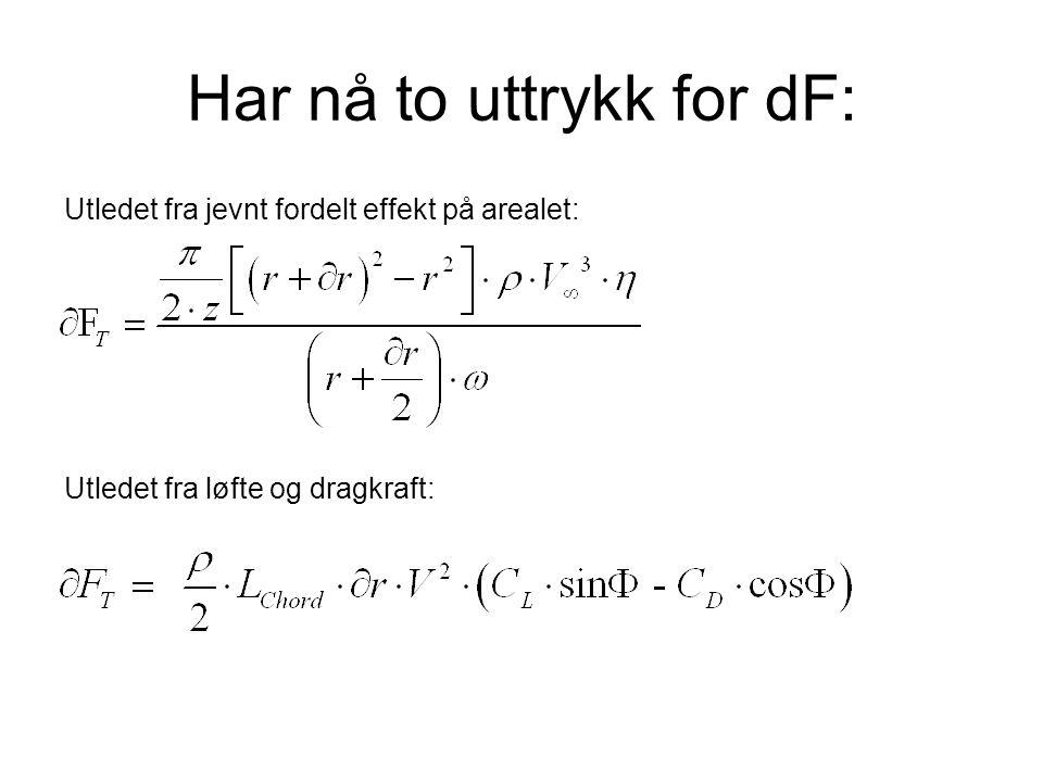 Har nå to uttrykk for dF: