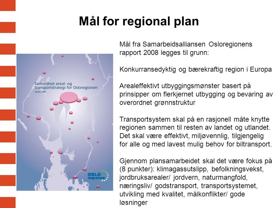 Mål for regional plan Mål fra Samarbeidsalliansen Osloregionens rapport 2008 legges til grunn: Konkurransedyktig og bærekraftig region i Europa.