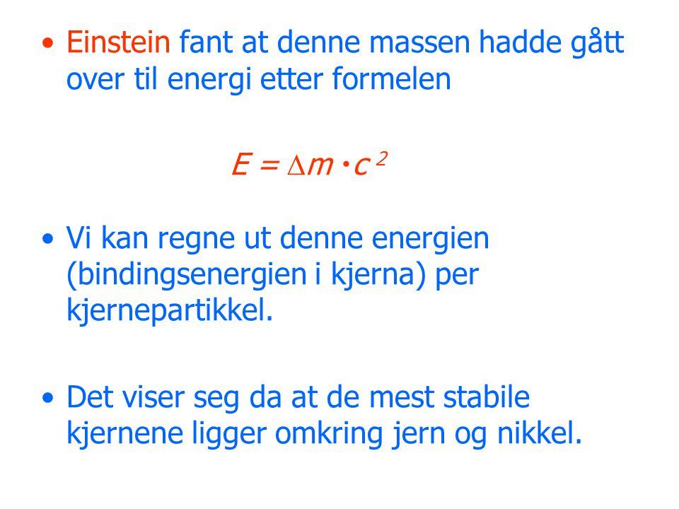 Einstein fant at denne massen hadde gått over til energi etter formelen