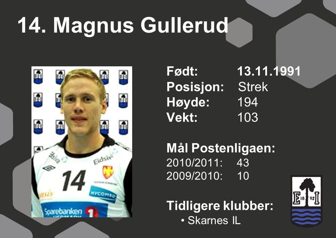 14. Magnus Gullerud Født: 13.11.1991 Posisjon: Strek Høyde: 194