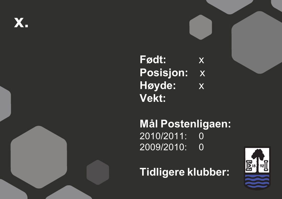 x. Født: x Posisjon: x Høyde: x Vekt: Mål Postenligaen: