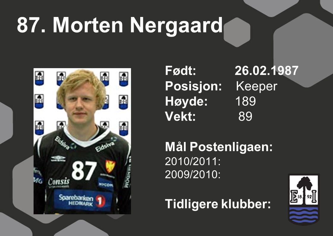 87. Morten Nergaard Født: 26.02.1987 Posisjon: Keeper Høyde: 189