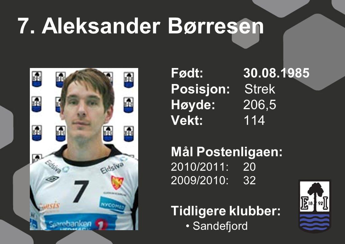 7. Aleksander Børresen Født: 30.08.1985 Posisjon: Strek Høyde: 206,5