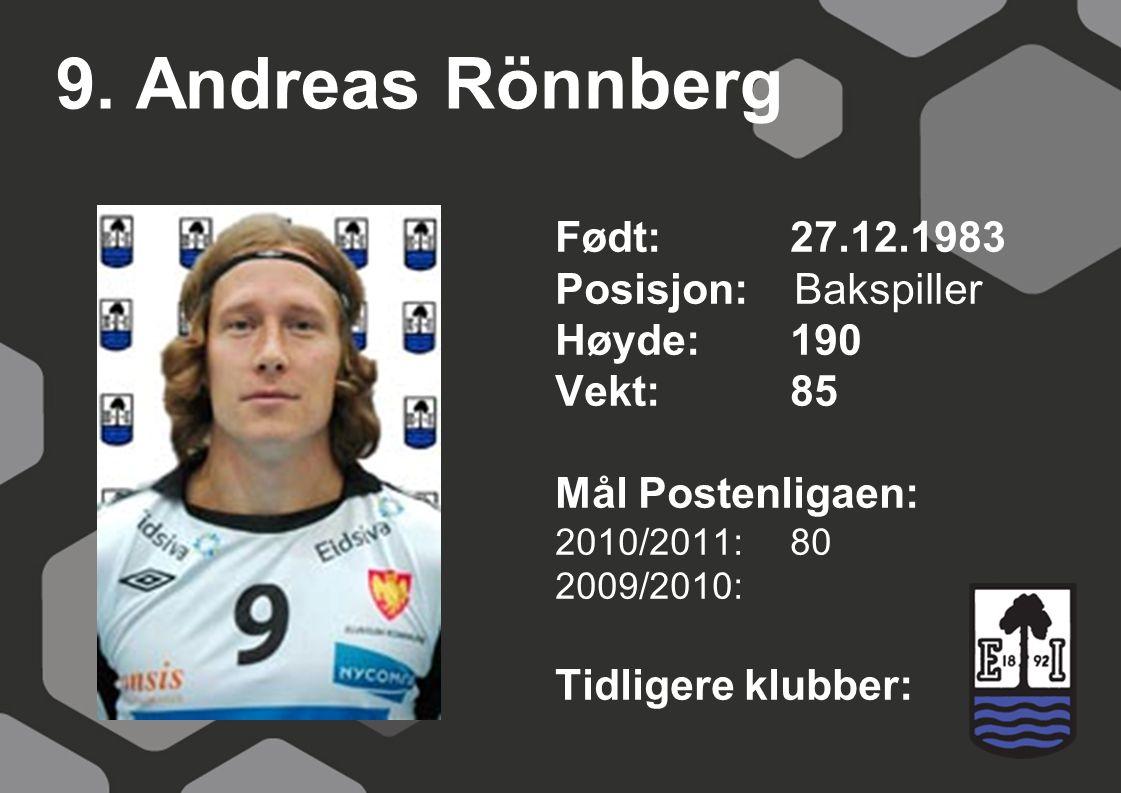9. Andreas Rönnberg Født: 27.12.1983 Posisjon: Bakspiller Høyde: 190