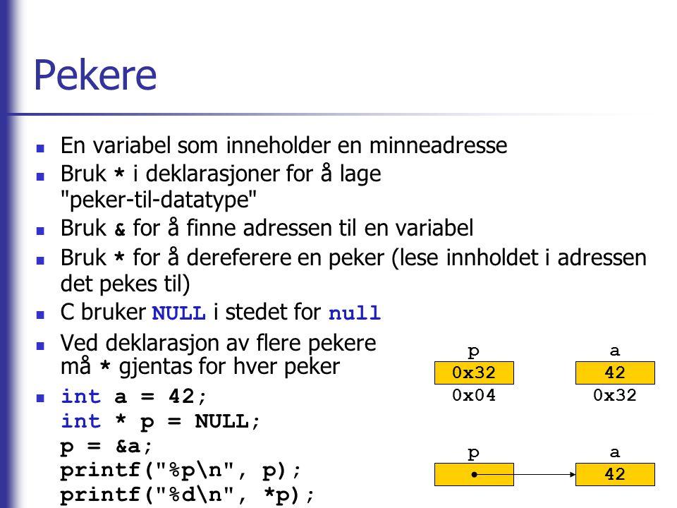 Pekere En variabel som inneholder en minneadresse