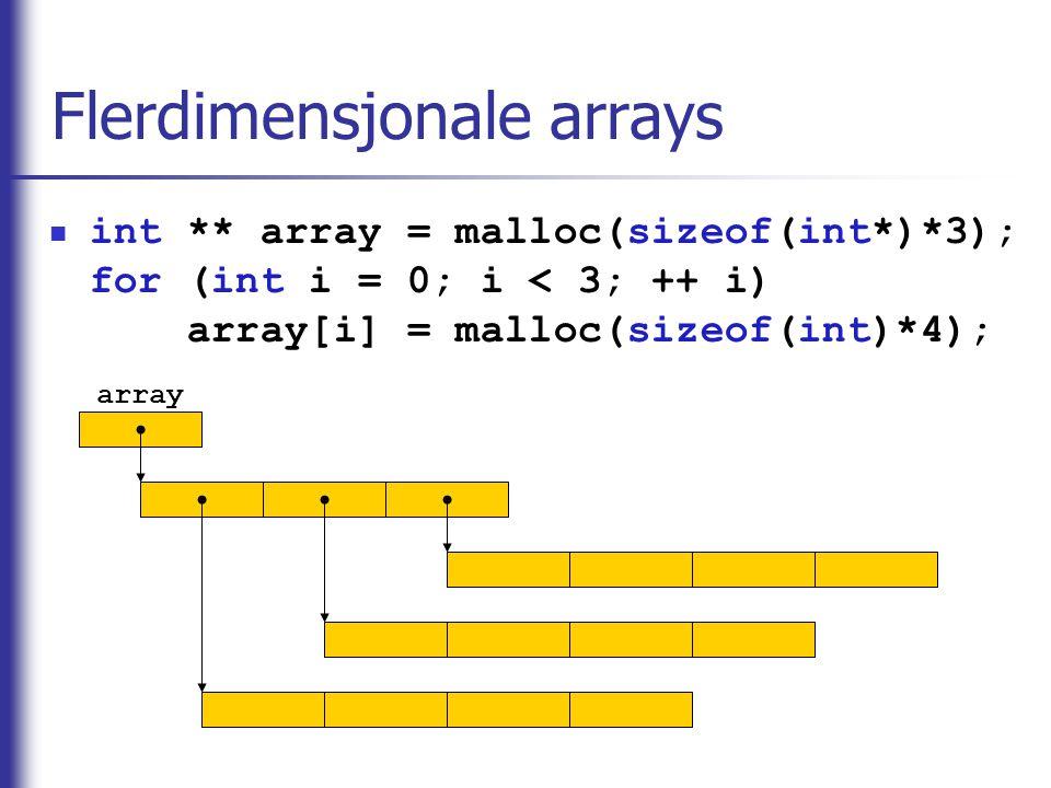 Flerdimensjonale arrays