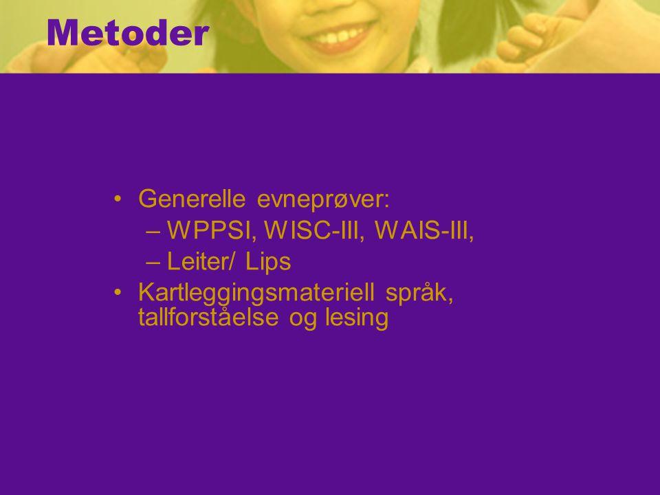 Metoder Generelle evneprøver: WPPSI, WISC-III, WAIS-III, Leiter/ Lips