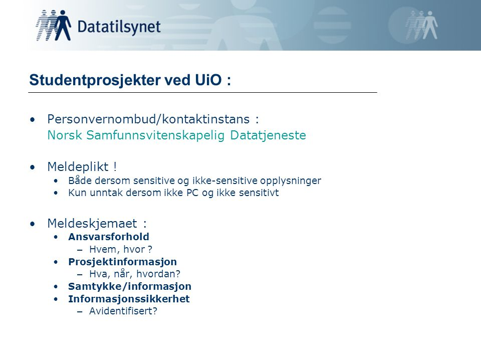 Studentprosjekter ved UiO :