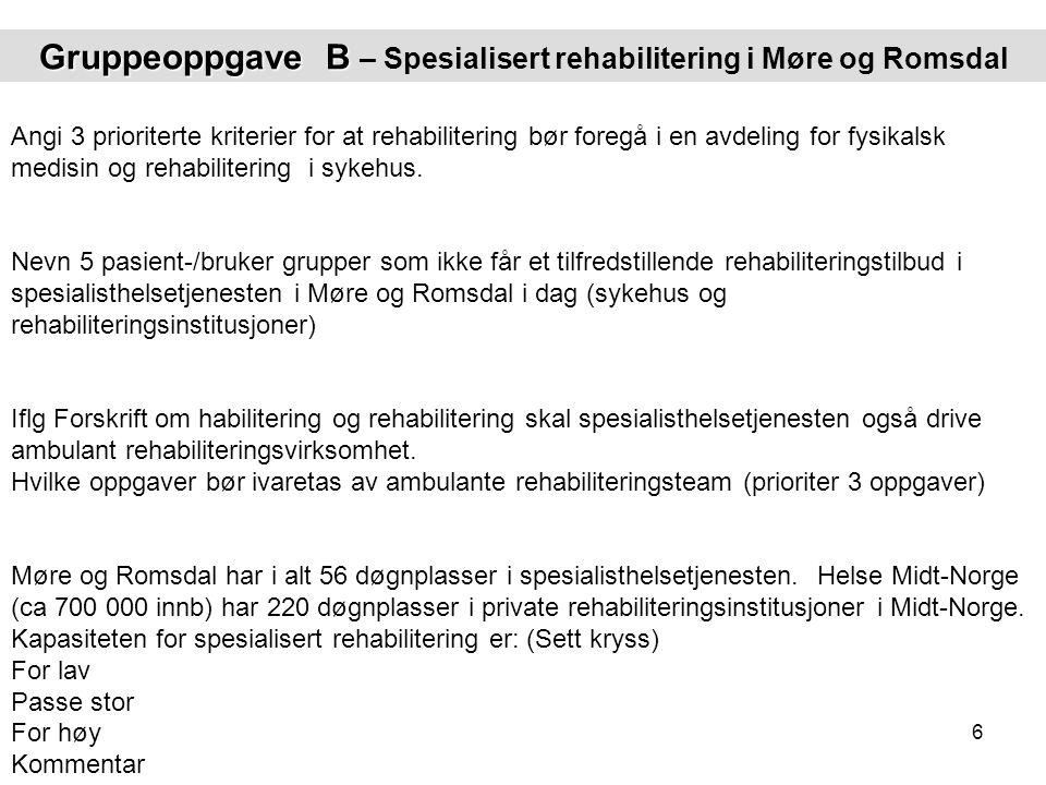 Gruppeoppgave B – Spesialisert rehabilitering i Møre og Romsdal