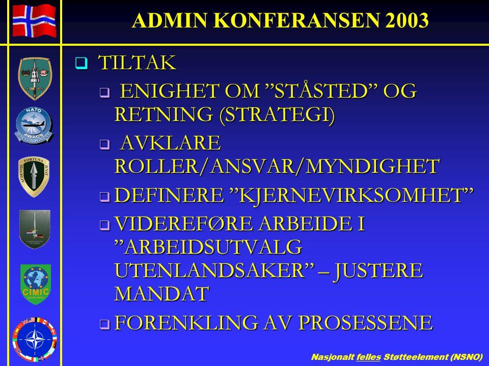 ADMIN KONFERANSEN 2003 TILTAK. ENIGHET OM STÅSTED OG RETNING (STRATEGI) AVKLARE ROLLER/ANSVAR/MYNDIGHET.