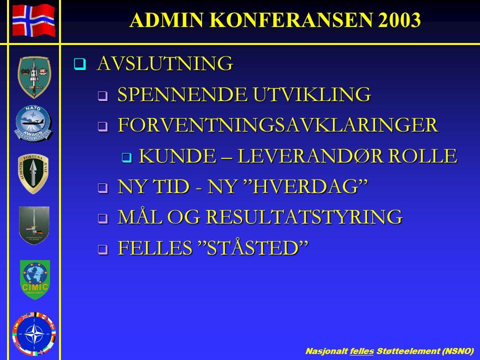 ADMIN KONFERANSEN 2003 AVSLUTNING. SPENNENDE UTVIKLING. FORVENTNINGSAVKLARINGER. KUNDE – LEVERANDØR ROLLE.