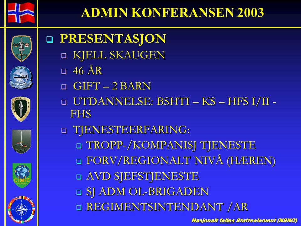 ADMIN KONFERANSEN 2003 PRESENTASJON KJELL SKAUGEN 46 ÅR GIFT – 2 BARN