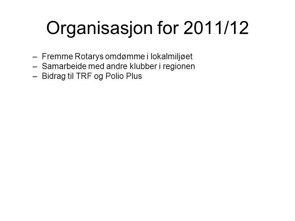 Organisasjon for 2011/12 Fremme Rotarys omdømme i lokalmiljøet