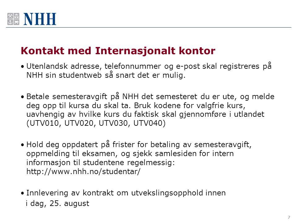 Kontakt med Internasjonalt kontor