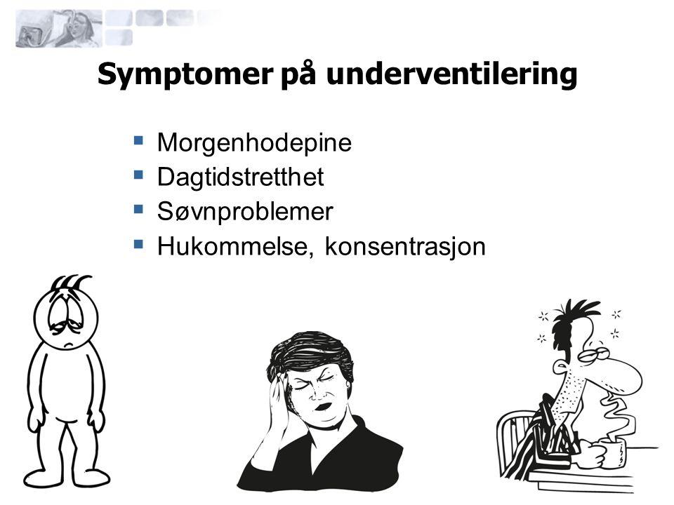 Symptomer på underventilering