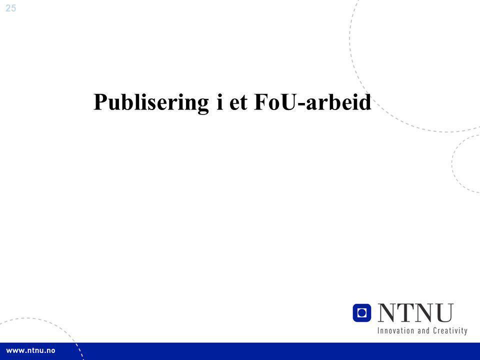 Publisering i et FoU-arbeid