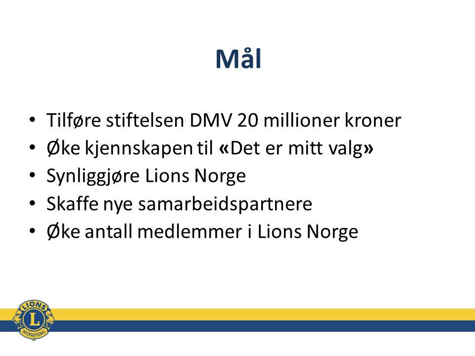 Mål Tilføre stiftelsen DMV 20 millioner kroner