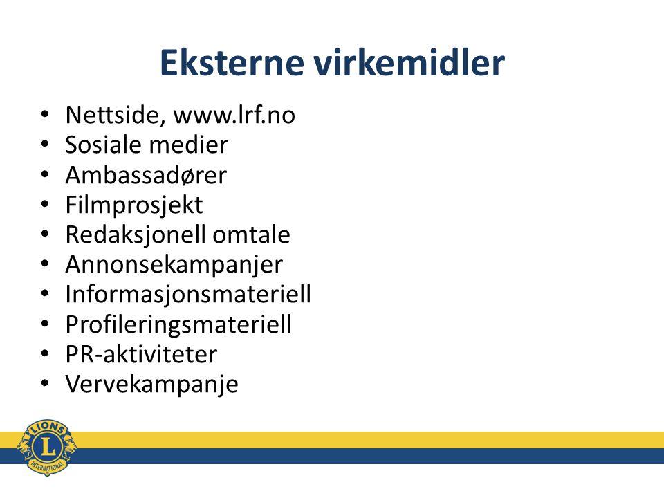 Eksterne virkemidler Nettside, www.lrf.no Sosiale medier Ambassadører