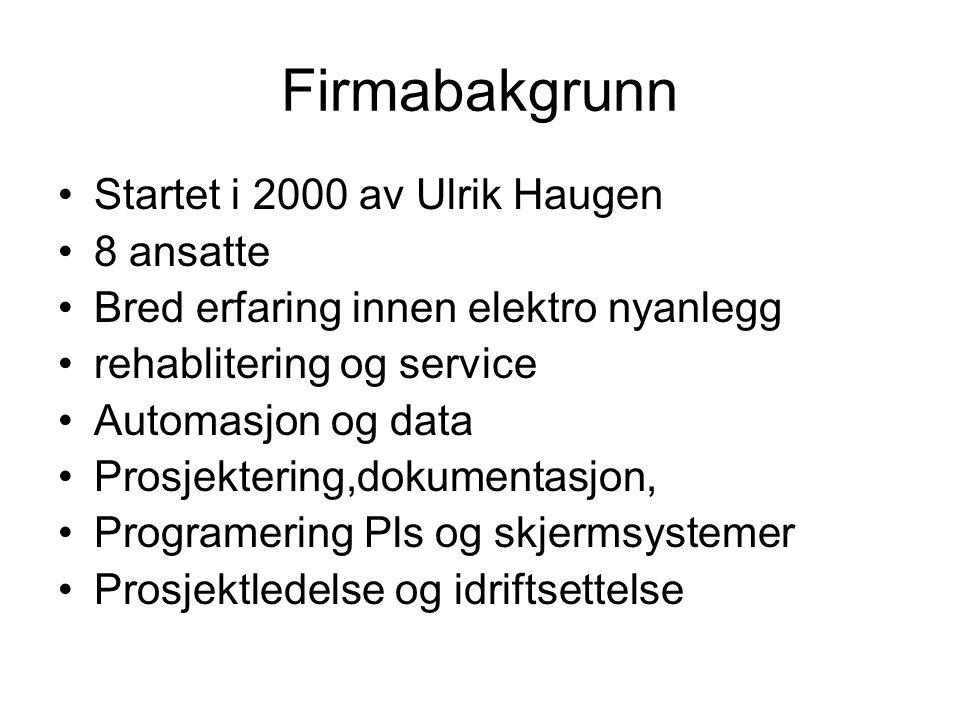 Firmabakgrunn Startet i 2000 av Ulrik Haugen 8 ansatte