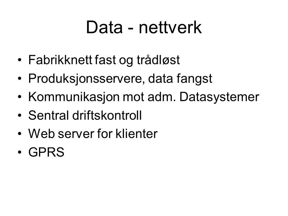Data - nettverk Fabrikknett fast og trådløst