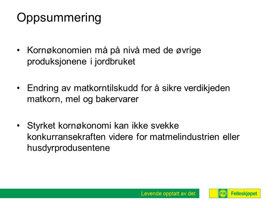 Oppsummering Kornøkonomien må på nivå med de øvrige produksjonene i jordbruket.