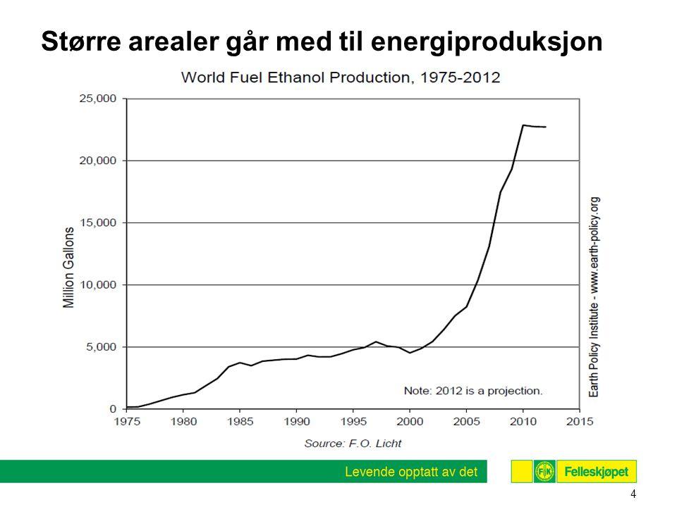Større arealer går med til energiproduksjon