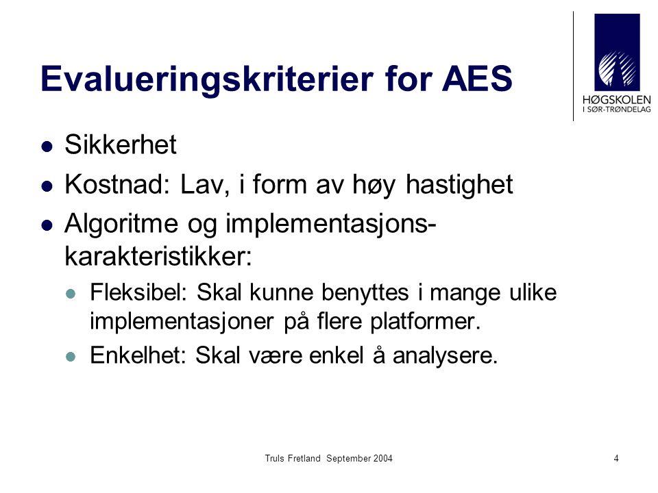 Evalueringskriterier for AES