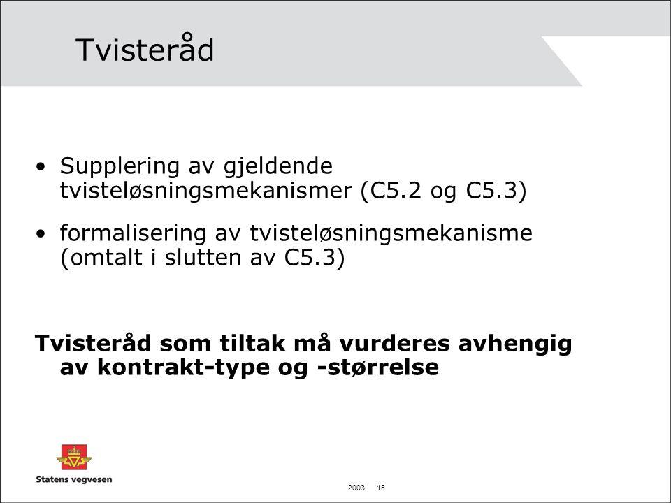 Tvisteråd Supplering av gjeldende tvisteløsningsmekanismer (C5.2 og C5.3) formalisering av tvisteløsningsmekanisme (omtalt i slutten av C5.3)