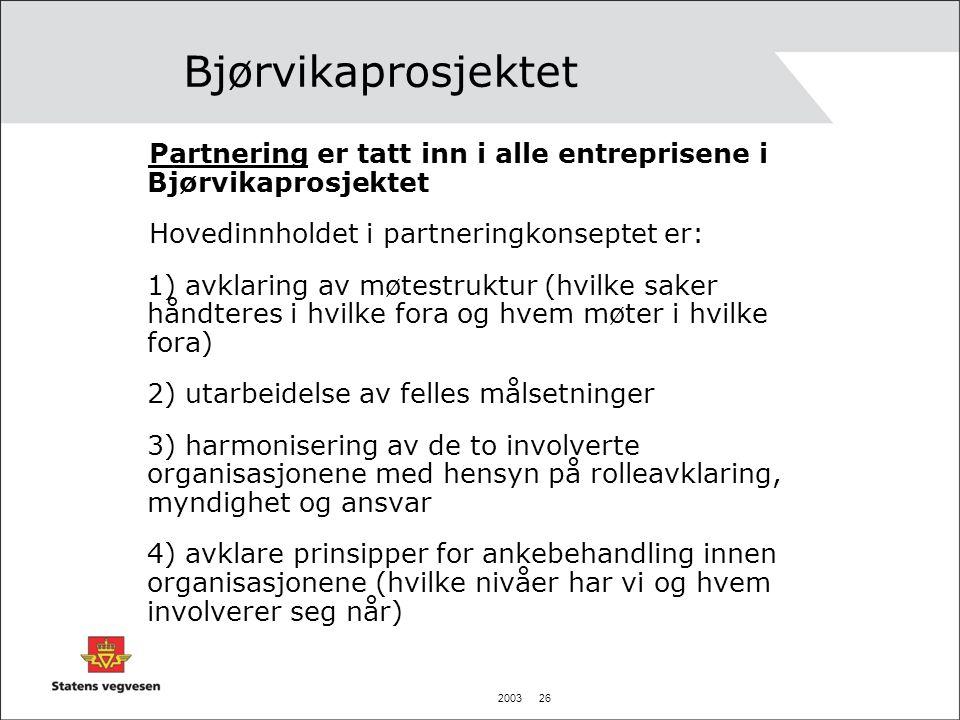 Bjørvikaprosjektet Partnering er tatt inn i alle entreprisene i Bjørvikaprosjektet. Hovedinnholdet i partneringkonseptet er: