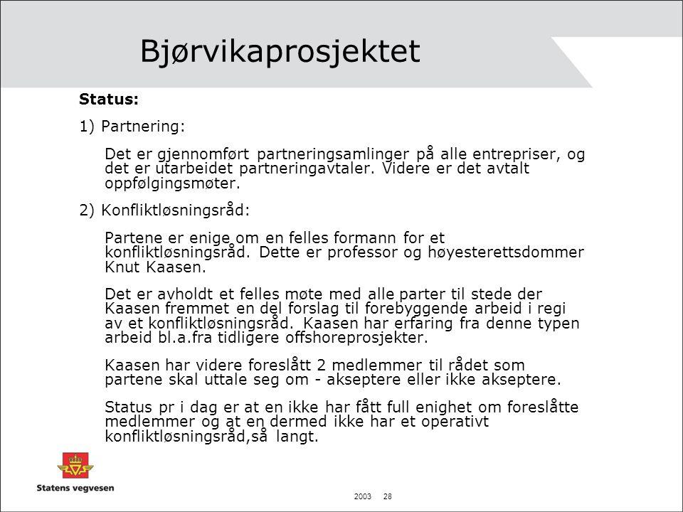 Bjørvikaprosjektet Status: 1) Partnering: