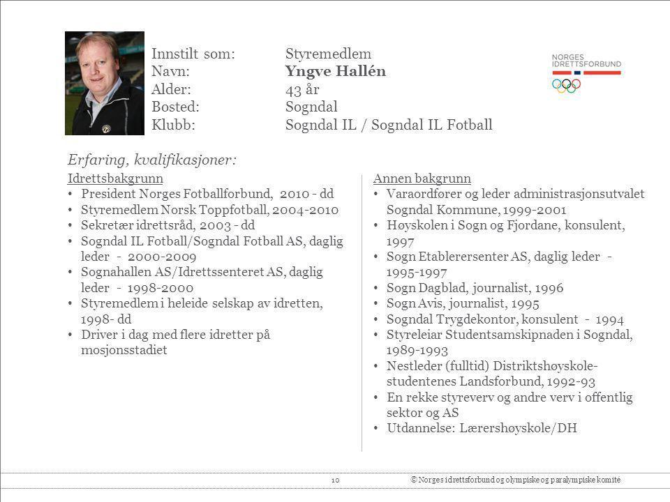Innstilt som: Styremedlem Navn: Yngve Hallén Alder: 43 år