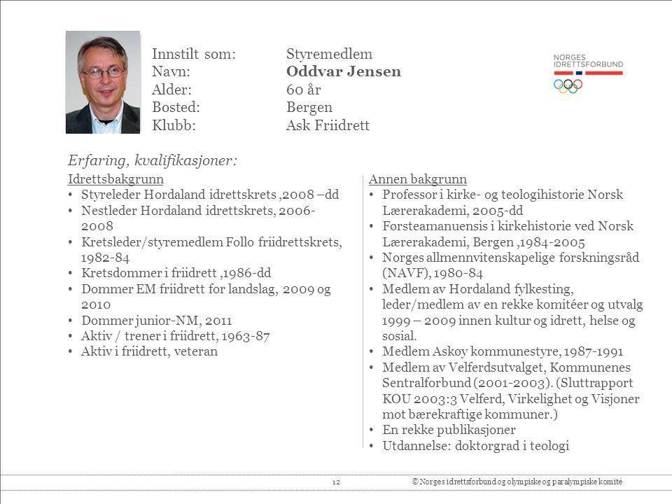 Innstilt som: Styremedlem Navn: Oddvar Jensen Alder: 60 år