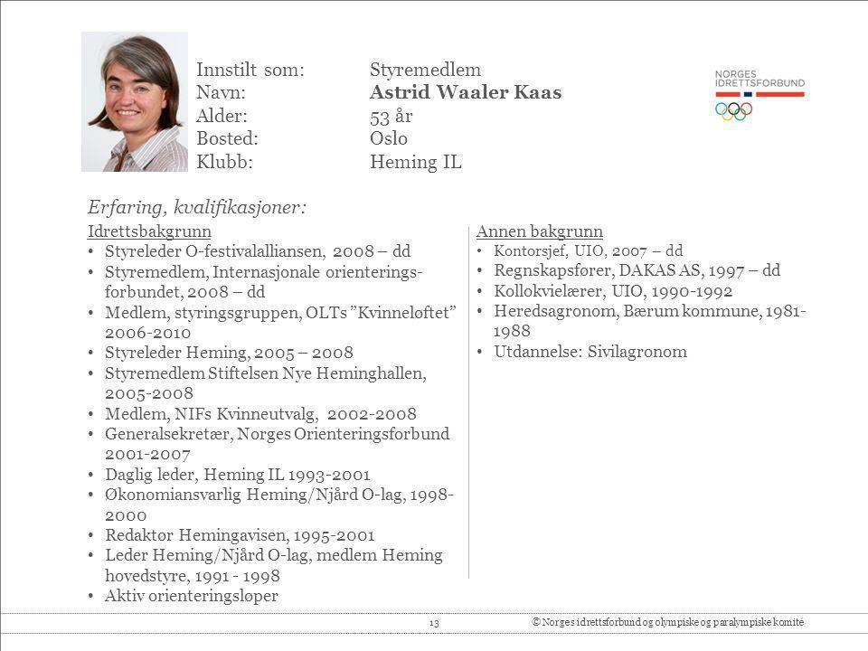 Innstilt som: Styremedlem Navn: Astrid Waaler Kaas Alder: 53 år