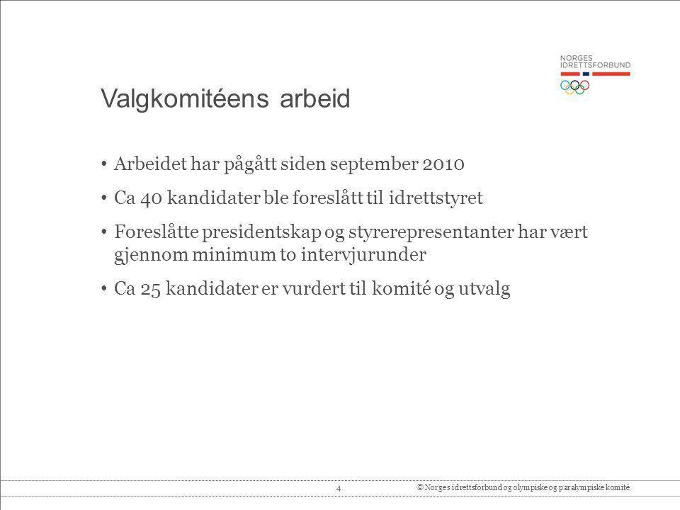 Valgkomitéens arbeid Arbeidet har pågått siden september 2010