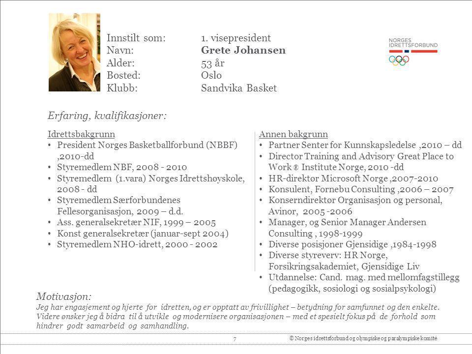 Innstilt som: 1. visepresident Navn: Grete Johansen Alder: 53 år