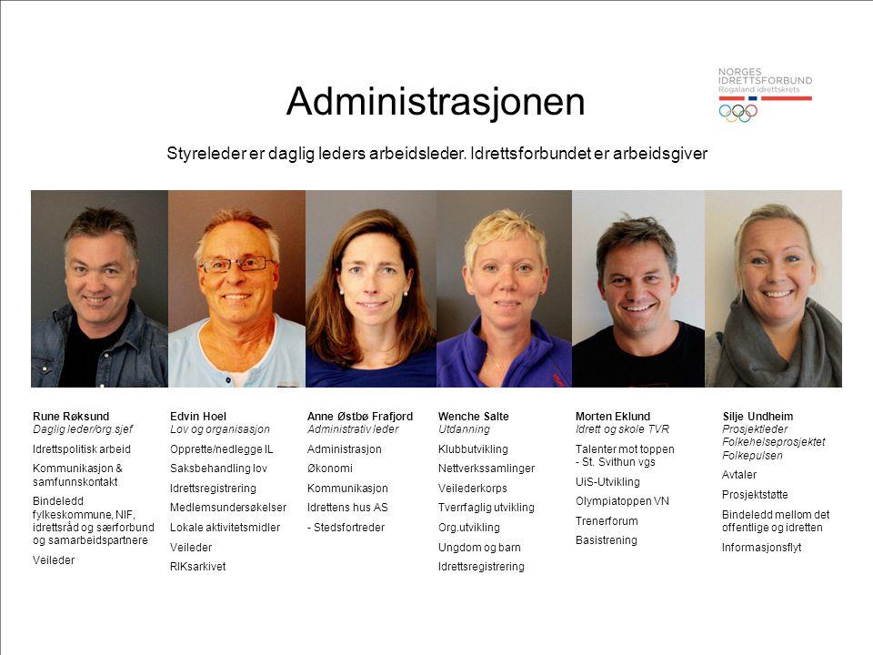 Administrasjonen Styreleder er daglig leders arbeidsleder. Idrettsforbundet er arbeidsgiver. Rune Røksund Daglig leder/org.sjef.