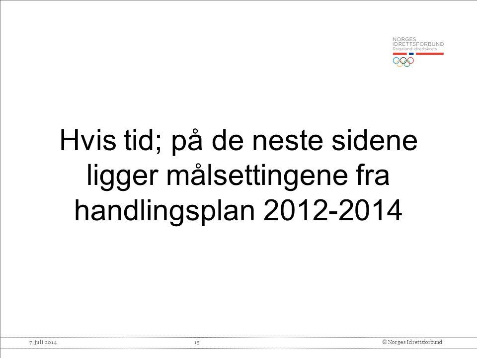 Hvis tid; på de neste sidene ligger målsettingene fra handlingsplan 2012-2014