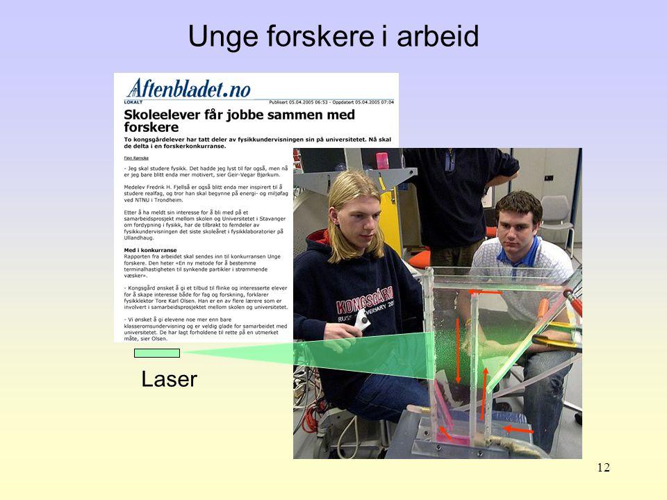Unge forskere i arbeid Laser