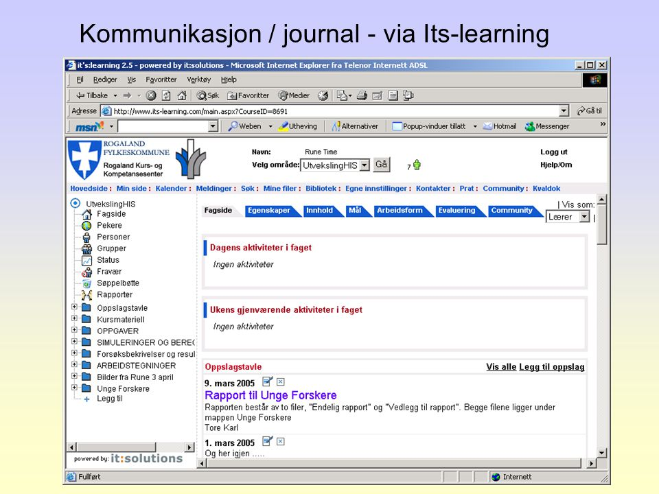 Kommunikasjon / journal - via Its-learning