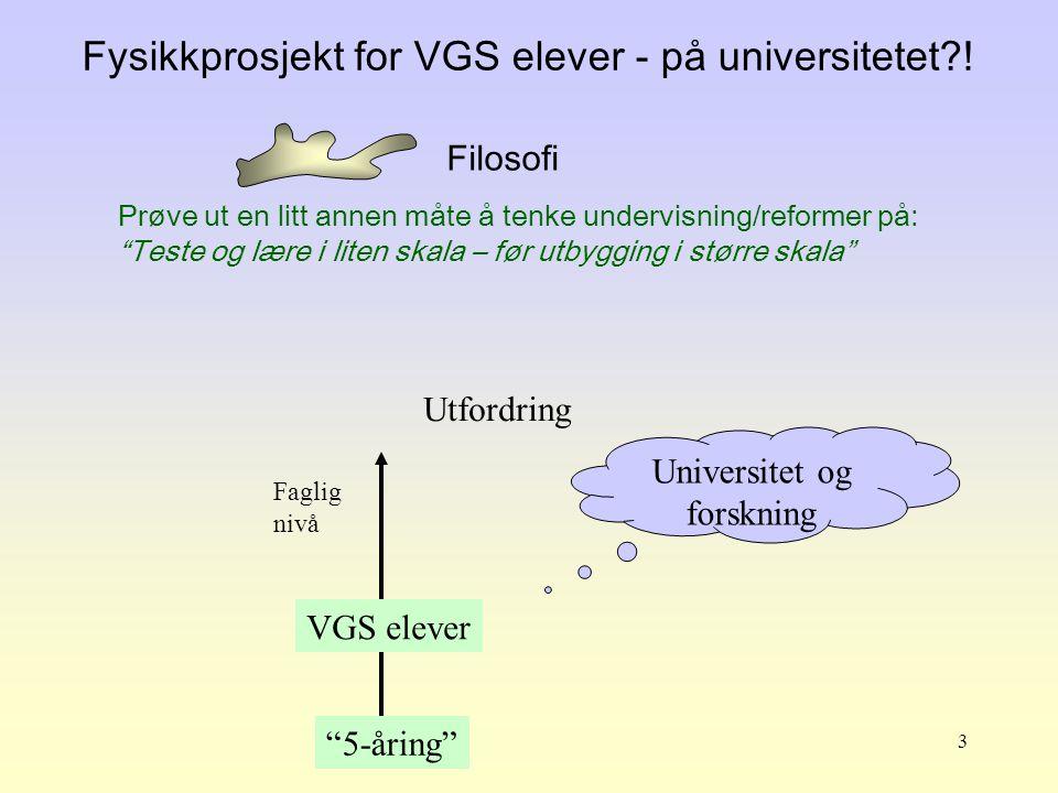 Fysikkprosjekt for VGS elever - på universitetet !