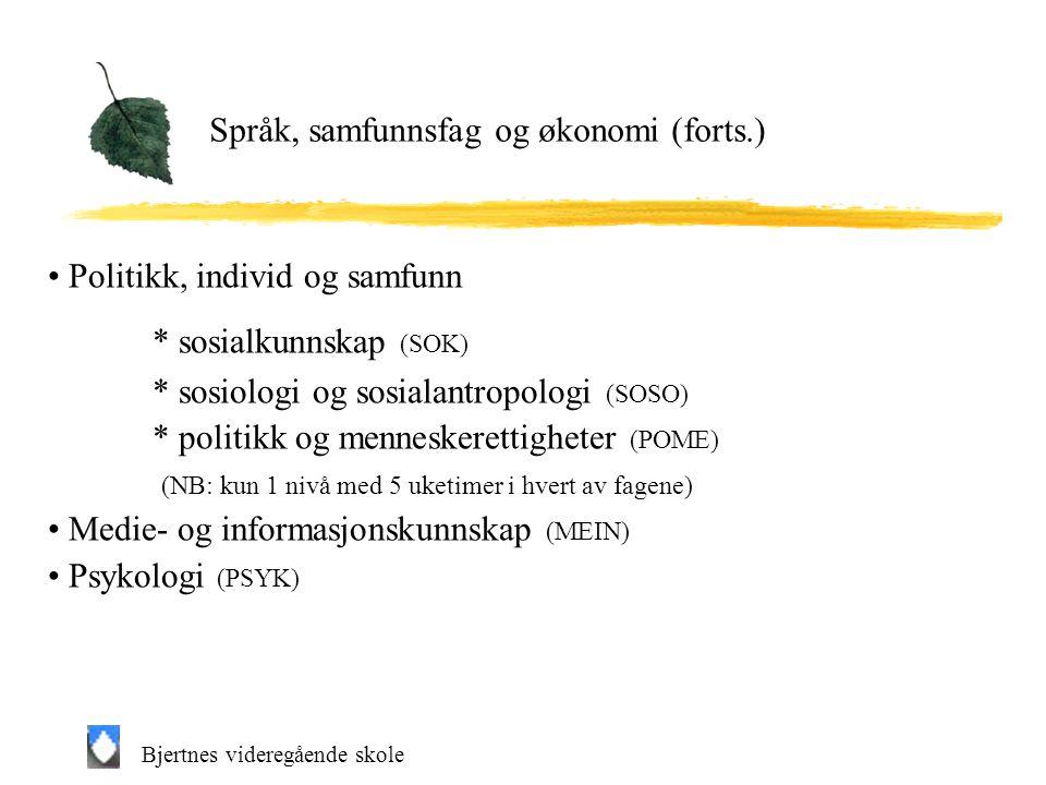 Språk, samfunnsfag og økonomi (forts.)